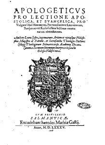 Portada del Apologeticus pro lectione Apostolica
