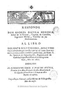 Respuesta de don Andrés Dávila al Ente dilucidado