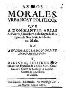Portada de los Avisos morales, urbanos y políticos de don Gómez Arias de Mieses