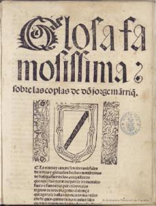 A. de Cervantes, Glosa famosissima..., Sevilla, Cromberger, 1508-1512